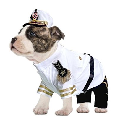 Yacht Admiral Costume For Dogs Authentic Detail Navy Sailor Uniform(Size 4) (Dog Sailor Costume)