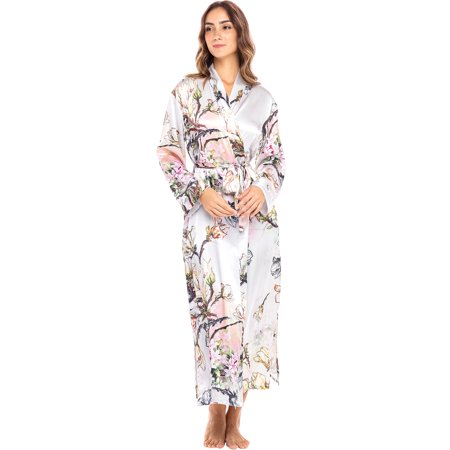 Alexander Del Rossa Women's Ankle Length Satin Kimono Wrap Robe with Pockets Sweetheart Ankle Length Satin