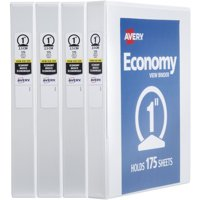 "Avery Economy View Binder, 1"" Round Rings, 4 Binders, White (19200)"