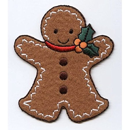christmas gingerbread man with holly large iron on applique embroidered patch - Christmas Gingerbread Man