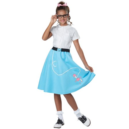 50's Style Poodle Skirt - 50's Blue Poodle Skirt Child Costume
