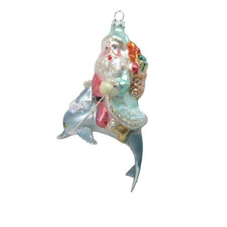 December Diamonds Santa Claus Riding on Dolphin Christmas Tree Ornament Sea Life
