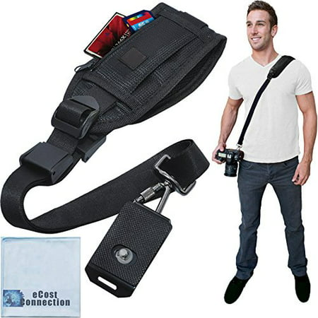 Quick Release Shoulder Strap for DSLR Cameras & Camcorders with Zippered Pocket for Memory Cards & Accessories + eCostConnection Microfiber