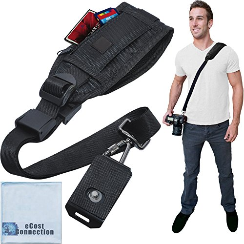 Quick Release Shoulder Strap for DSLR Cameras & Camcorders with Zippered Pocket for Memory Cards & Accessories + eCostConnection Microfiber Cloth