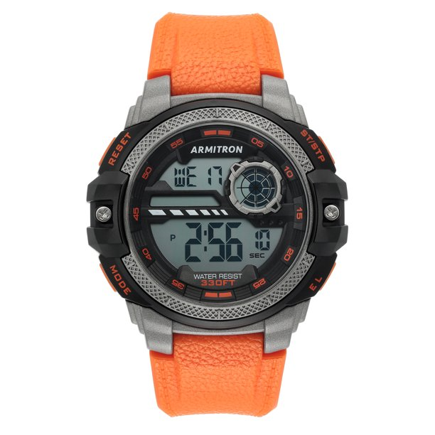Armitron Unisex Sport Watch with Black Round Dial and Orange Band
