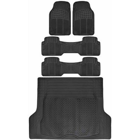 BDK Car SUV and Van Floor Rubber Mats with Cargo Trunk Mat, Heavy Duty All Weather Protection, 3 Colors (Cargo Van)