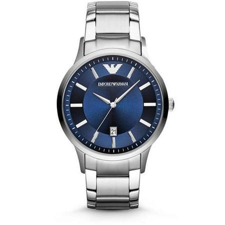 Men's Renato 43mm Steel Bracelet & Case Quartz Blue Dial Analog Watch - Blue Bracelet Watch