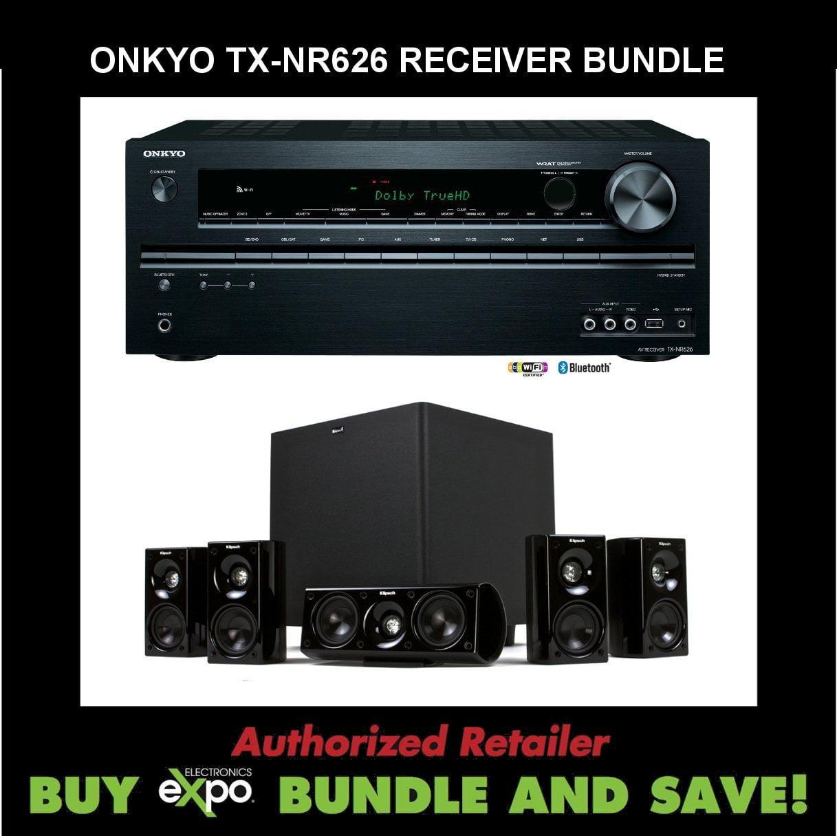 Onkyo TX-NR626 5.2-Channel Network Audio Video Receiver, Plus Klipsch HDT-600 Home Theater Speaker System by Onkyo