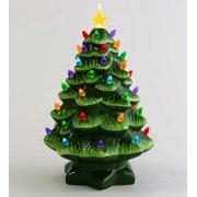 "14"" Indoor / Outdoor Lighted Ceramic Christmas Tree"