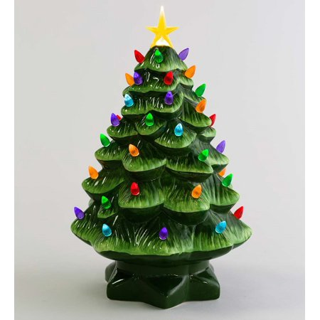 "14"" Indoor / Outdoor Lighted Ceramic Christmas Tree"