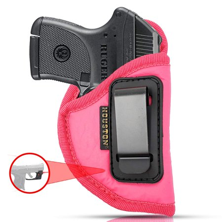 IWB Woman Pink Gun Holster - Houston - ECO Leather Concealed Carry Soft: Fits Any Small 380 with Laser, Keltec, Ruger LCP, Diamond Back, Small 25 & 22 Cal with Laser (Right)