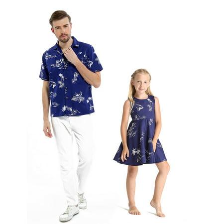 c7e6d62a Matching Father Daughter Hawaiian Dance Shirt Vintage Dress Classic Map  Flamingo Navy Men L Girl 14 - Walmart.com