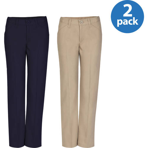REAL SCHOOL Girls Flat Front Low Rise Pants School Uniform Approved 2-Pack Value Bundle