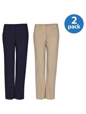 REAL SCHOOL Girls Flat Front Low Rise Pants School Uniform Approved 2-Pack Value Bundle