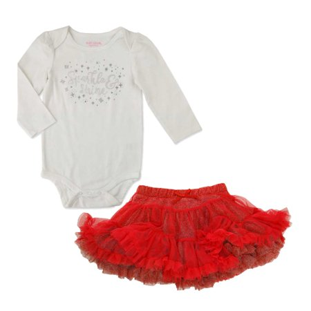 - Baby Grand Infant Girls Sparkle White Creeper Red Tulle Tutu Holiday Set NB