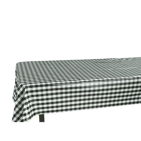 Ottomanson Checkered Design Vinyl Indoor & Outdoor Non-Woven Backing Kitchen Picnic Tablecloth, Black, Yellow