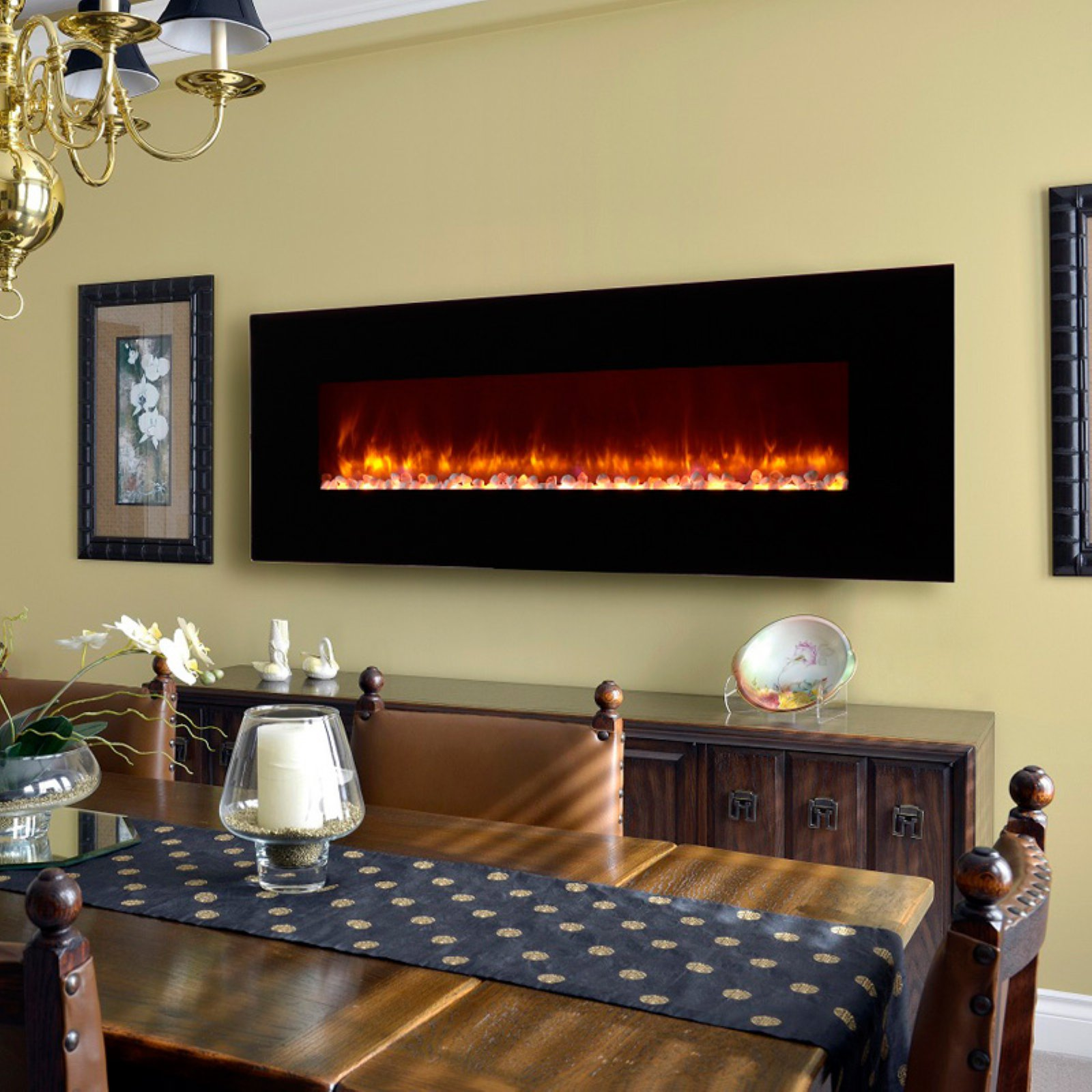 Dynasty Contemporary Electric Fireplace LED Wall Mount 70 in. by Dynasty Fireplaces