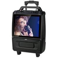 "QFX Karaoke Portable Speaker with 14"" Screen / USB / FM / Stand & Microphone, KAR-812SM"