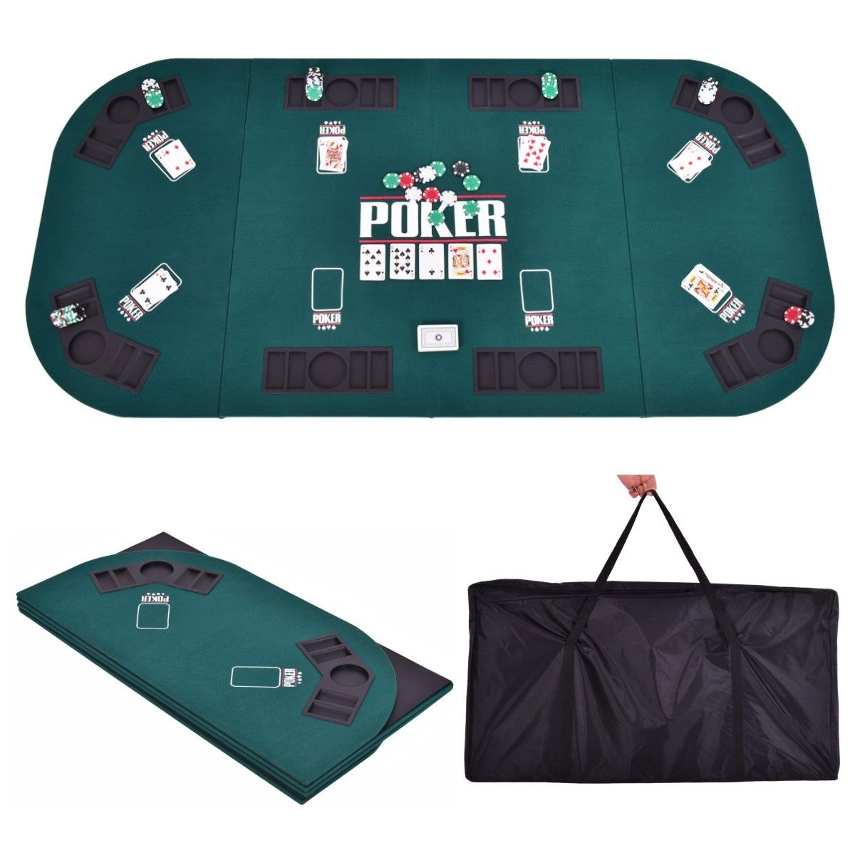 Costway Folding Four Fold 8 Player Poker Table Top & Carrying Case Portable Green