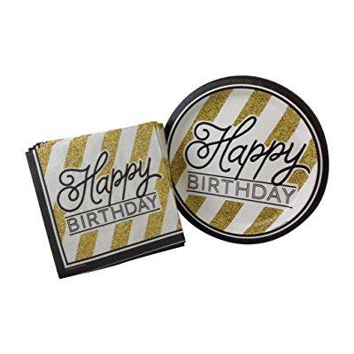 black and gold happy birthday party bundle with paper plates and napkins for 16 guests - Black And Gold Napkins