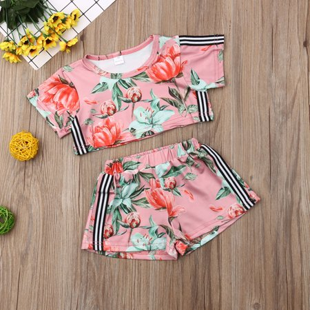 Toddler Baby Girls Floral Summer Outfit Short Sleeve Crop Top and Shorts 2Pcs Clothes - Summer Short Outfits