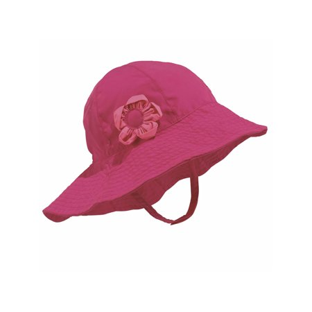 Sun Smarties Raspberry Adjustable Baby Girl Sun Hat with Flower - Solid Raspberry Pink  - UPF 50+ - Baby Toddler Flower