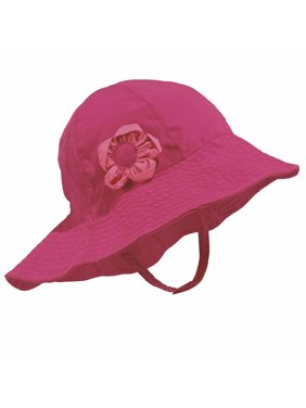 6497b91a1dd Product Image Sun Smarties Raspberry Adjustable Baby Girl Sun Hat with  Flower - Solid Raspberry Pink - UPF