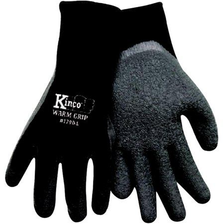 (Warm Grip 1790 Protective Gloves, Men's, Large, Acrylic Knit Shell, Black, Thermal Lining)