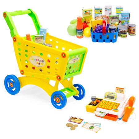 Best Choice Products 27-Piece Educational Toy Pretend Grocery Shopping Cart w/ Cash Register, Plastic Food, Play Money](Plastic Toy)