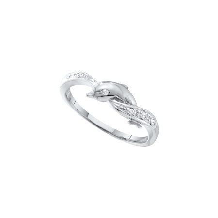 (10kt White Gold Womens Round Diamond Dolphin Ring .03 Cttw)