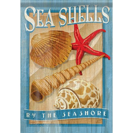 "Image of ""Sea Shells Summer Garden Flag shells Shore Starfish Nautical Beach 13""""x18"""""""