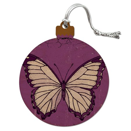 Butterfly Artsy Purple Wood Christmas Tree Holiday Ornament ()