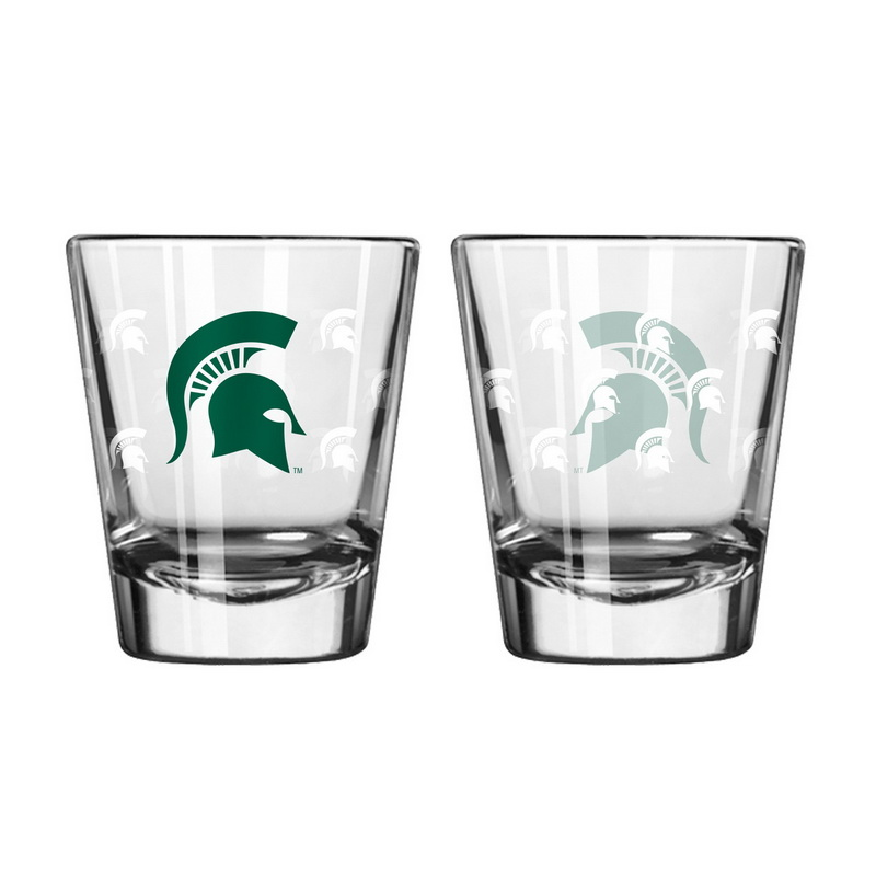Boelter Brands Michigan State Spartans Shot Glass - 2 Pack Satin Etch