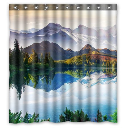 YKCG Mountain Lake Fantastic Sunny Day Shower Curtain Waterproof Fabric Bathroom Shower Curtain 66x72 inches ()