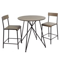 Declean Metal Wood 3-Piece Pub Height Dining Set