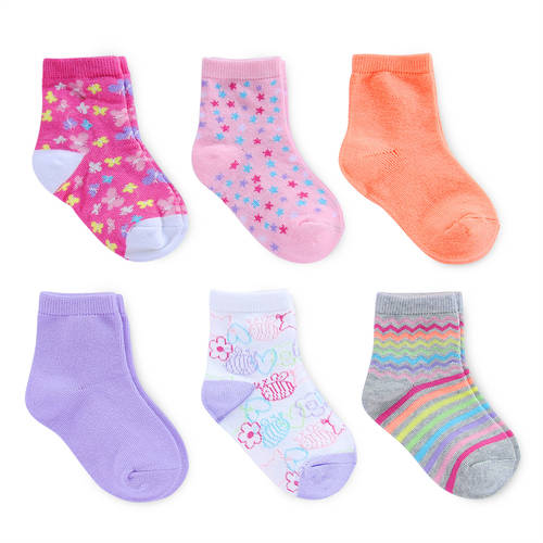 Garanimals 6 Pack Girls Striped Crew Socks