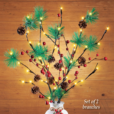 Pine Twig Lighted Branches Set - Battery Operated