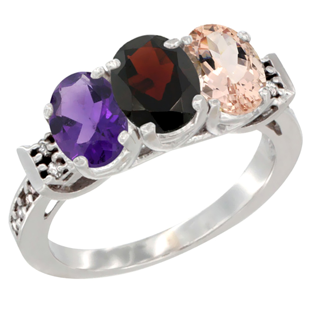 14K White Gold Natural Amethyst, Garnet & Morganite Ring 3-Stone 7x5 mm Oval Diamond Accent, sizes 5 10 by WorldJewels
