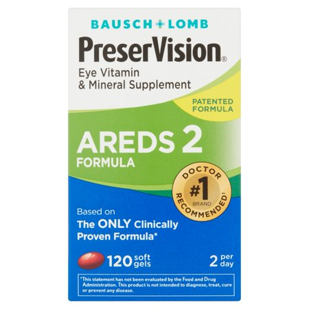 Bausch & Lomb Preservision AREDS 2 Formule pour les yeux Vitamine Gels mous, 120 CT gélules