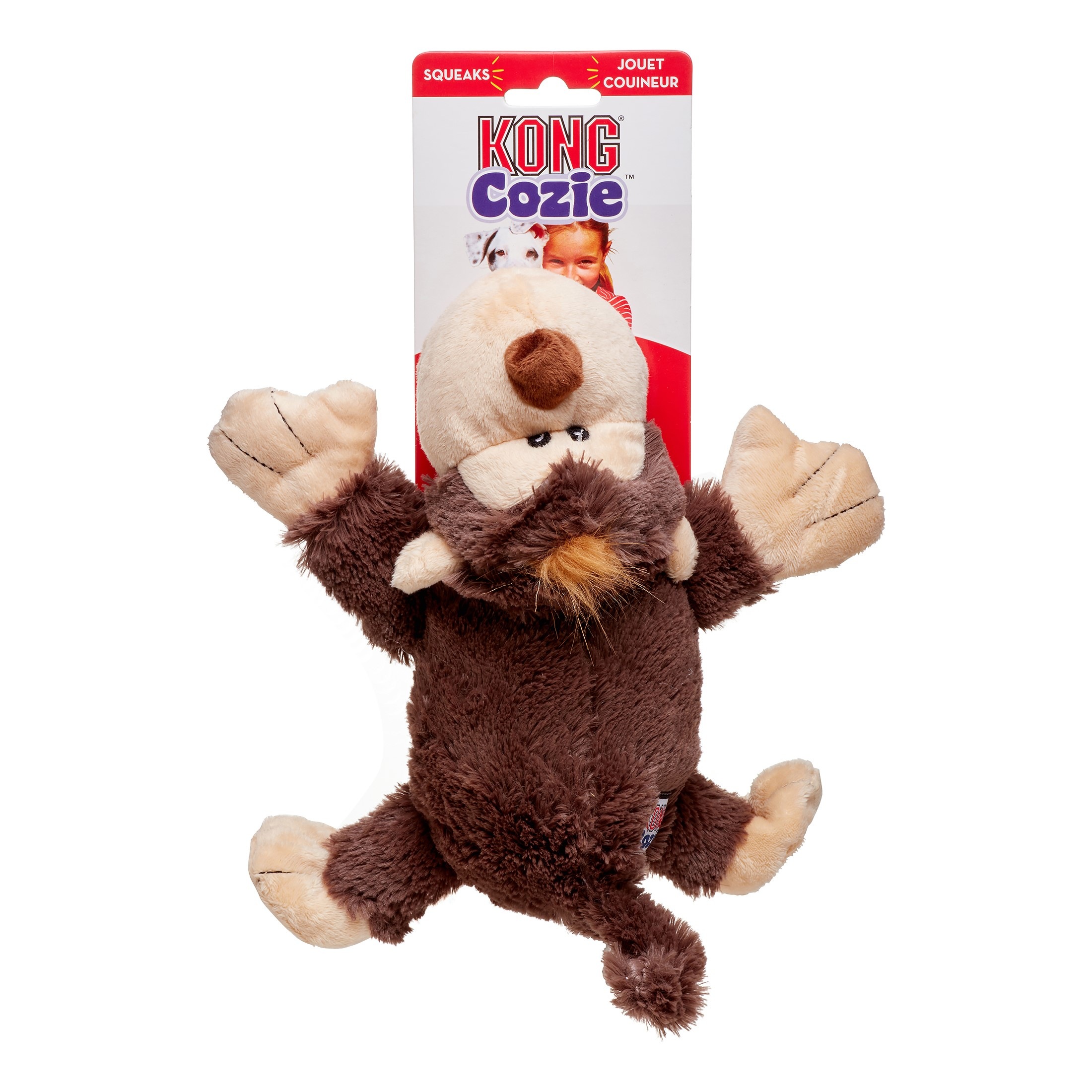 KONG Cozie Spunky the Monkey Dog Toy, Small