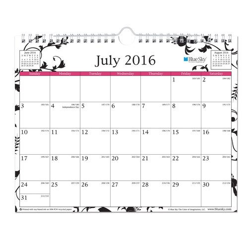 "Blue Sky Analeis Academic Year 2016-2017 Monthly 11"" x 8.75"" Wall Calendar"
