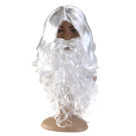 Deluxe White Santa Fancy Dress Costume Wizard Wig and Beard Set Christmas Halloween