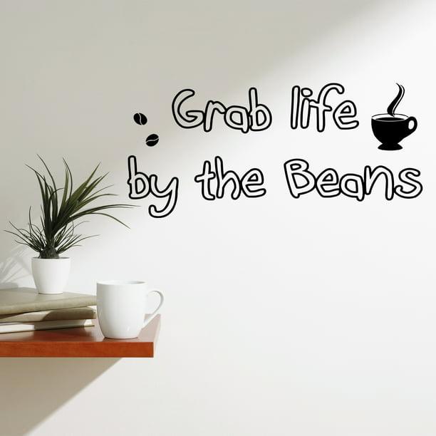 Vwaq Grab Life By The Beans Vinyl Wall Art Decals Coffee Quotes Sayings Wall Stickers Murals Walmart Com Walmart Com