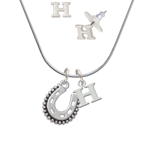 Beaded Horseshoe - H Initial Charm Necklace and Stud Earrings Jewelry Set
