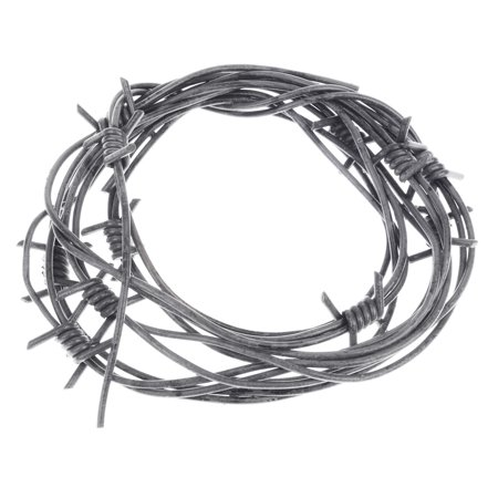 8' Fake Silver Barbed Barb Wire Halloween Decoration Wire Prop Gray Garland](Halloween Door Garlands)