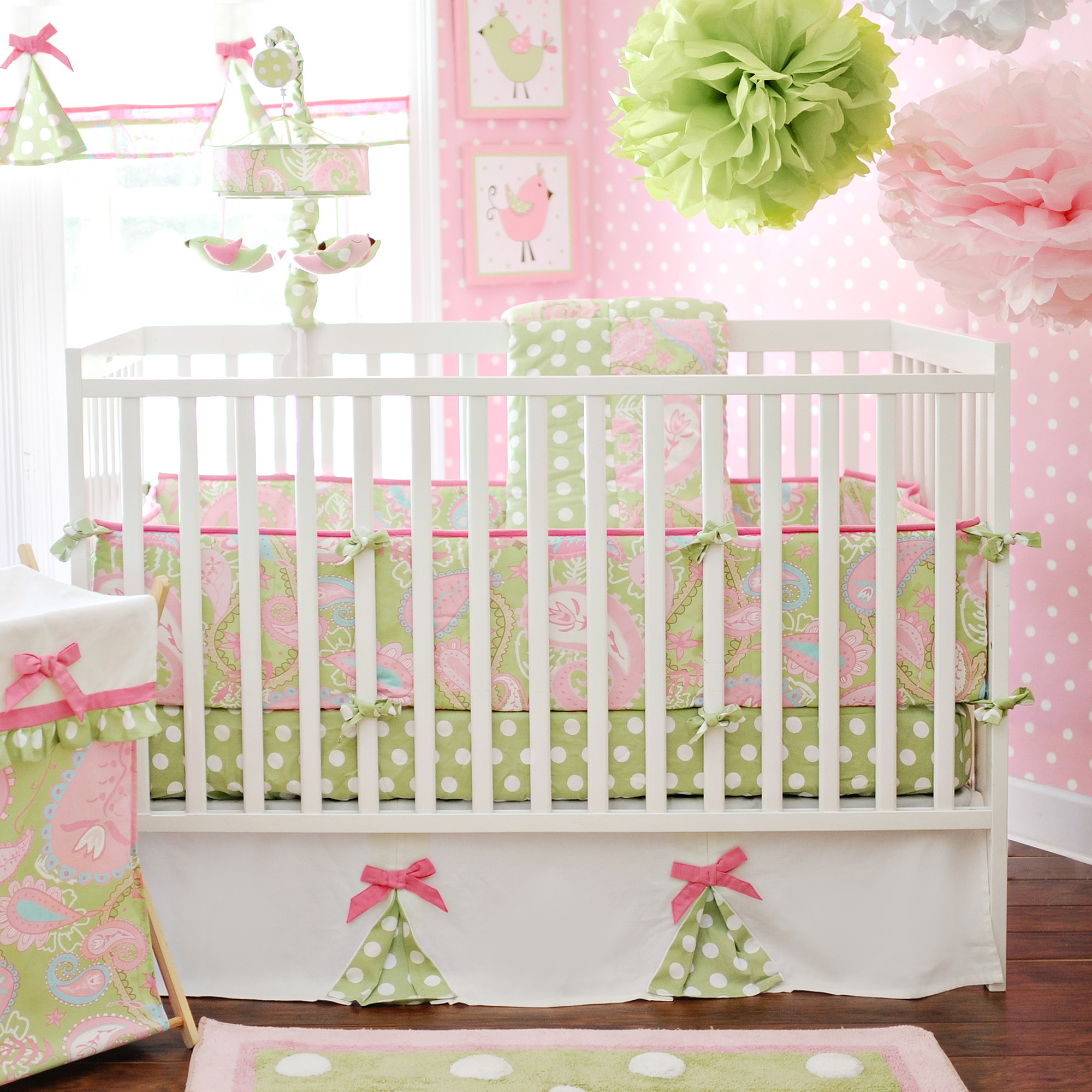 My Baby Sam Pixie Baby 3-Piece Crib Bedding Set, Pink