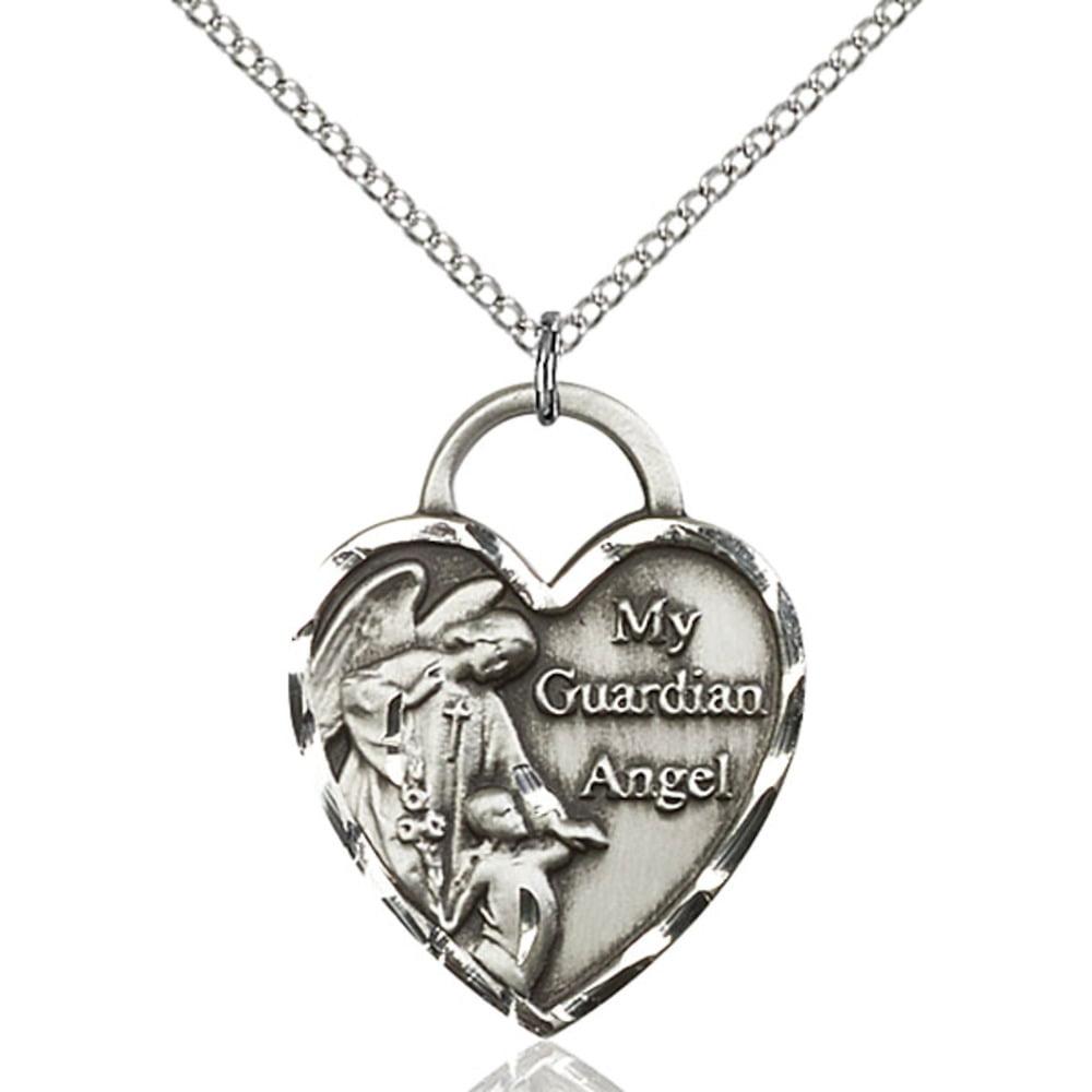 Sterling Silver Guardian Angel Heart Pendant 1 x 3/4 inch...