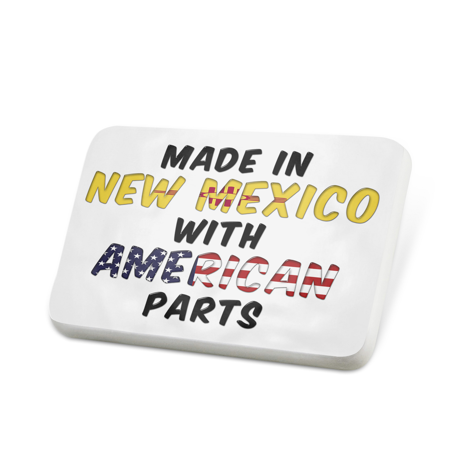 Porcelein Pin American Parts but Made in New Mexico Lapel Badge – NEONBLOND