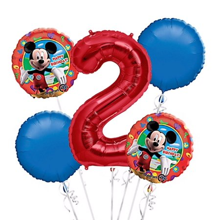 Mickey Mouse Balloon Bouquet 2nd Birthday 5 pcs - Party Supplies, 1 Giant Number 2 Balloon, 34in By Viva Party - Mickey Mouse 2nd Birthday