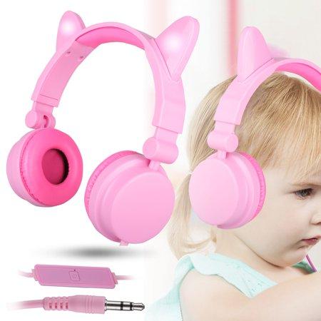 Kids Earphones Girls , TSV Cat Ear with Flash Light Headset Foldable Children On-ear Headphones Built-in Mic, Adjustable Slider, Stereo Sound, Universal 3.5mm Jack Headphone for Children Girls, Pink (Earphone Jack Plug Cat)